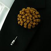 hecho a mano de lana de color marrón claro de los hombres combina flores de solapa en el ojal
