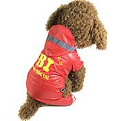 개 레인 코트 레드 / 블랙 강아지 의류 모든계절/가을 문자와 숫자 / 경찰/군인 방수