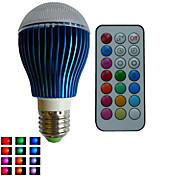9W E26/E27 LED 글로브 전구 A80 3PCS 고성능 LED RGB lm RGB 밝기 조절 / 리모컨 작동 / 장식 AC 85-265 V 1개