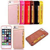 Para Funda iPhone 5 Soporte de Coche Funda Cubierta Trasera Funda Un Color Dura Cuero Sintético para AppleiPhone 7 Plus / iPhone 7 /