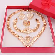 Juego de Joyas Amor Clásico Brillante Chapado en Oro Legierung Forma de Corazón Collares Pendientes Argollas Pulsera ParaBoda Fiesta