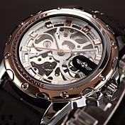 WINNER 남성 손목 시계 기계식 시계 중공 판화 오토메틱 셀프-윈딩 실리콘 밴드 럭셔리 블랙