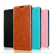 For Nokia Case with Stand / Flip Case Full Body Case Solid Color Hard Genuine Leather Nokia Nokia Lumia 640 / Nokia Lumia 640 XL