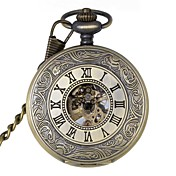 Hombre Reloj de Bolsillo El reloj mecánico Cuerda Manual Huecograbado Aleación Banda De Lujo Bronce