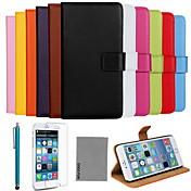용 아이폰6케이스 / 아이폰6플러스 케이스 카드 홀더 / 스탠드 / 플립 케이스 풀 바디 케이스 단색 하드 천연 가죽 iPhone 6s Plus/6 Plus / iPhone 6s/6