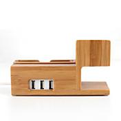 3 en 1 de madera de bambú de carga de soporte del soporte del sostenedor estación de acoplamiento con salida USB para iPhone iWatch