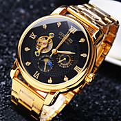 남성 패션 시계 손목 시계 기계식 시계 오토메틱 셀프-윈딩 방수 중공 판화 모조 다이아몬드 스테인레스 스틸 밴드 스파클 멋진 창의적 럭셔리 골드