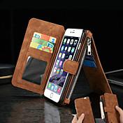 제품 iPhone 8 iPhone 8 Plus iPhone 6 iPhone 6 Plus 케이스 커버 지갑 카드 홀더 스탠드 플립 풀 바디 케이스 한 색상 하드 천연 가죽 용 Apple iPhone 8 Plus iPhone 8 아이폰 7 플러스