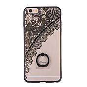 용 아이폰6케이스 아이폰6플러스 케이스 스탠드 링 홀더 투명 패턴 케이스 뒷면 커버 케이스 레이스 디자인 하드 PC 용 iPhone 6s Plus iPhone 6 Plus iPhone 6s 아이폰 6