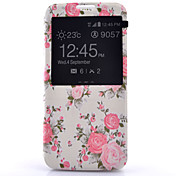 For Samsung Galaxy S7 Edge with Windows / Flip Case Full Body Case Flower PU Leather Samsung S7 plus / S7 edge / S7