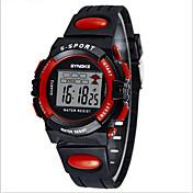SYNOKE Niño Reloj Deportivo Reloj de Pulsera Reloj digital Digital LCD Calendario Cronógrafo Resistente al Agua alarma Luminoso PU Banda