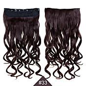 합성 머리가 엮어 합성 1 개 클립 24inch의 60cm 머리 여자 큰 파도 긴 곱슬 머리 연장 # 33 색