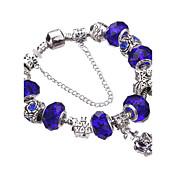 여성 걸´ 참 팔찌 뱅글 물가 팔찌 Silver Bracelets 크리스탈 견고함 패션 홀딱 반할 만한 비즈 유럽의 아크릴 라인석 은 도금 합금 Geometric Shape 레드 그린 블루 핑크 라이트 그린 보석류 용파티 일상 캐쥬얼 크리스마스