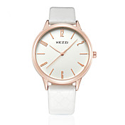 KEZZI 커플용 패션 시계 손목 시계 석영 일본 쿼츠 PU 밴드 캐쥬얼 블랙 화이트 브라운