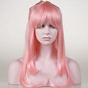 여성 인조 합성 가발 캡 없음 스트레이트 밝은 핑크 코스플레이 가발 할로윈 가발 카니발 가발 의상 가발