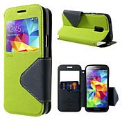 Para Funda Samsung Galaxy Carcasa Funda Soporte de Coche con Soporte con Ventana Flip Cuerpo Entero Funda Color sólido Cuero Sintético