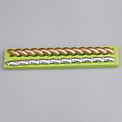퐁당 케이크 장식 도구 색상 무작위로 2 캐비티 스트립 모양의 실리콘 금형