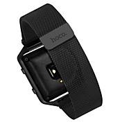 Negro / Plata Acero Inoxidable Correa Milanesa Para Fitbit Reloj 23mm
