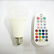 10 E26/E27 LED 글로브 전구 A60(A19) 16pcs X SMD 5730+2pcs X RGB 3W LED SMD 5730 800 lm RGB 밝기 조절 / 음향 작동 / 리모컨 작동 / 장식 AC 85-265 V 1개