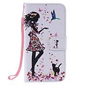 삼성 갤럭시 J3의 J3 (2016) 여자와 고양이 그린 카드 홀더 지갑 PU 가죽 휴대 전화 케이스