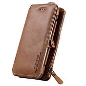 용 지갑 / 카드 홀더 / 스탠드 케이스 풀 바디 케이스 단색 하드 천연 가죽 용 Samsung S7 / S6 edge plus / S6 edge / S6