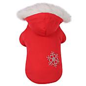 개 코트 / 후드 레드 / 브라운 강아지 의류 겨울 눈송이 따뜻함 유지 / 양면 가능 / 크리스마스
