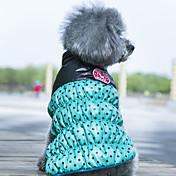 개 코트 조끼 강아지 의류 양면 가능 따뜻함 유지 도트 무늬 옐로우 레드 그린