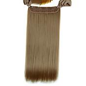 5 클립 긴 직선 황금 금발 (# 16) 여성을위한 머리 연장 합성 헤어 클립