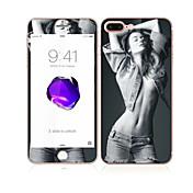 애플 아이폰에 대한 부드러운 가장자리 전체 화면 범위 앞면과 뒷면 화면 보호기 섹시한 여자 패턴 (7) 4.7 강화 유리