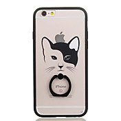 용 링 홀더 투명 패턴 케이스 뒷면 커버 케이스 고양이 하드 PC 용 Apple iPhone 6s Plus iPhone 6 Plus iPhone 6s 아이폰 6