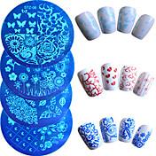 7pcs / set arte de uñas de moda placa de estampado de flores de colores preciosa de la mariposa del corazón plantillas de diseño de uñas