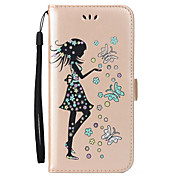 For Huawei P8 Lite 2017 P10 Case Cover Butterfly Girl Pattern Embossed Flash Powder PU Skin Material Card Stent Phone Case P10 P9 P8 Lite Y5 II Y6 II