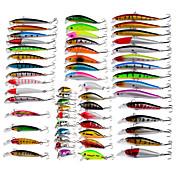 56 pcs Pececillo Cebos Señuelos duros Pececillo Paquete de cebos Multicolor g/Onza mm pulgada Pesca de baitcasting