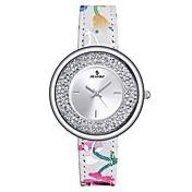 Mujer Reloj Deportivo Reloj de Moda Reloj de cristal flotante Japonés Cuarzo Resistente al Agua Cuero Auténtico Banda Casual Múltiples