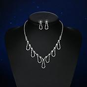 Mujer Pendientes cortos Collar Cristal Diseño Básico joyería de disfraz Cristal Plateado Gota Para Boda Fiesta Ceremonia Fiesta de Noche