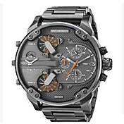 Hombre Reloj Militar Reloj de Vestir Reloj de Moda Reloj de Pulsera Chino Cuarzo Calendario Dos Husos Horarios Punk Esfera Grande Acero