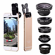 5-en-1 ojo de pescado lente gran angular del cpl de la lente del teleobjetivo del marco para el iphone 7 6 / 6s más