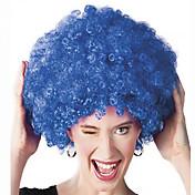 Pelucas sintéticas Sin Tapa Medio Rizado Azul Peluca afroamericana Para mujeres de color Peluca de cosplay Las pelucas del traje
