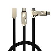 2 en 1 cable plano usb2.0 para samsung huawei sony nokia htc motorola lg lenovo xiaomi 100 cm pvc