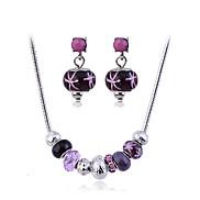 Modische Legierung Perlen Halskette und Ohrringe