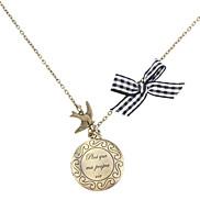 Rund Englisch Wort geschnitzte Retro-Halskette