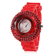 Women's Zircon Silicone Band Analog Quartz Wrist Casual Watch(Red) Cool Watches Unique Watches