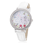 Women's Swan Style PU Analog Quartz Wrist Watch (White)