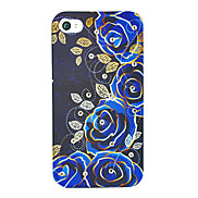 Blue Rose Painting Zircon Back Case for iPhone 4/4S