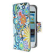 Exquisite Flowers and Circles Pattern PU Leather Case with Magnetic Snap and Card Slot for Samsung Galaxy S3 mini I8190