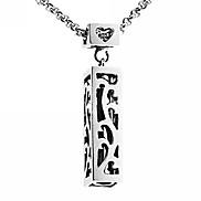 Fashion 316L Titanium Steel Hollow Rectangle Pendant Necklace
