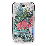 Eiffel Tower and Flowers Sequins Starry Diamond Texture Back Case for Samsung Note 2 N7100