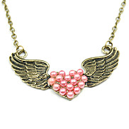 Heart Wings Pearl Necklace