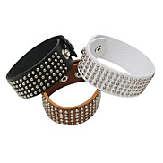 Eruner®Punk Style Round Rivet Wide PU Leather Braceket(Assorted Color)