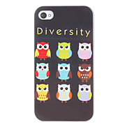 Owls in Black Background Pattern Hard Case for iPhone 4/4S